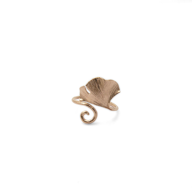 Ginkgo Leaf Rose Gold Sterling Sliver Ring