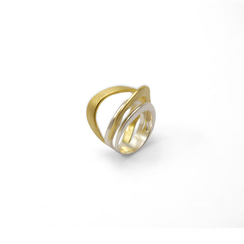 Arc Trio Cricle Gold & Sliver Sterling Sliver Ring