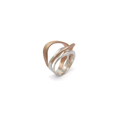 Arc Trio Cricle Rose Gold & Sliver Sterling Sliver Ring