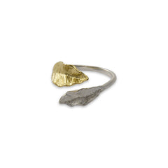 Two Leaves Gold & Sliver Sterling Sliver Ring