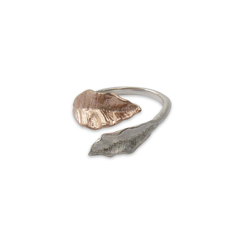 Two Leaves Rose Gold & Sliver Sterling Sliver Ring