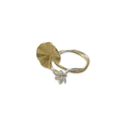 Big lotus flower Gold small flower Sliver Sterling Ring