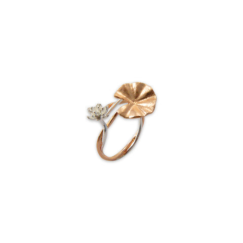 Big lotus flower Rose Gold small flower Sliver Sterling Ring