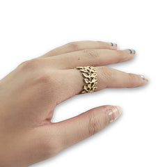 Sequence leaves Gold Sterling Ring