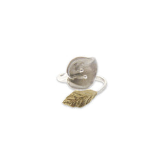 Big flower small leaf Gold Sterling Silver Ring