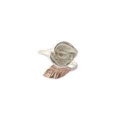 Big flower small leaf Rose Gold Sterling Ring