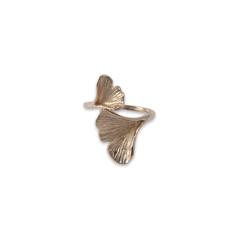 Double Ginkgo Leaf Rose Gold Sterling Sliver Ring