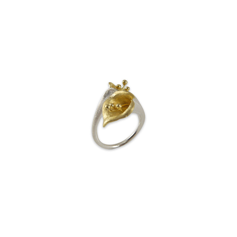 Two lilies Gold Sterling Sliver Ring
