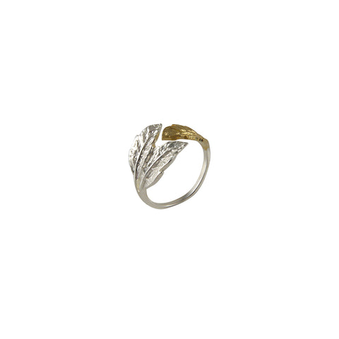 Three leaves Gold Sterling Sliver Ring