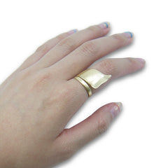 Long ribbon Gold Sterling Sliver Ring