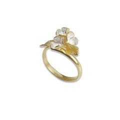 Flower Pedal and the leaf Gold Sterling Silver Ring