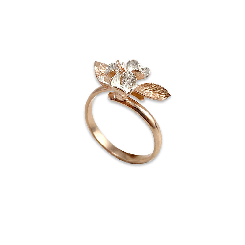 Flower Pedal and the leaf Rose Gold Sterling Silver Ring