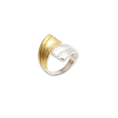Double Lined Ribbons Silver and Gold Sterling Silver Ring