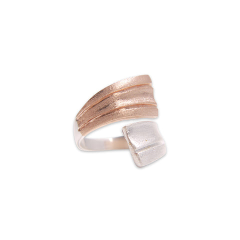 Double Lined Ribbons Silver and Rose Gold Sterling Silver Ring