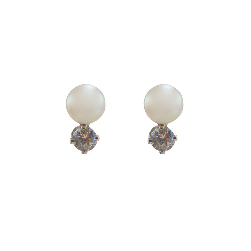 Linked Pearl & Cubic Zirconia Sterling Silver Studs