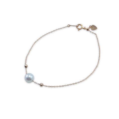 18K real rose gold big 8mm Akuya Pearl Bracelet