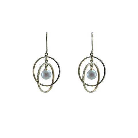 3D Ball 18K Real Gold + Akuya Pearl Earrings