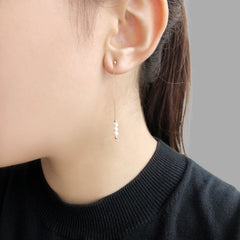 18K Real Gold + 3 Akuya Pearl two way wear earrings