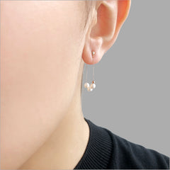 18K Real Rose Gold + 3 Akuya Pearl two way wear earrings