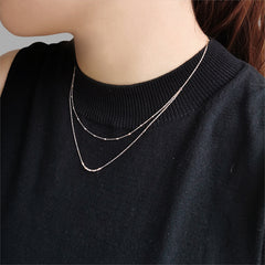 Double Layer 18K Real Rose Gold Necklace