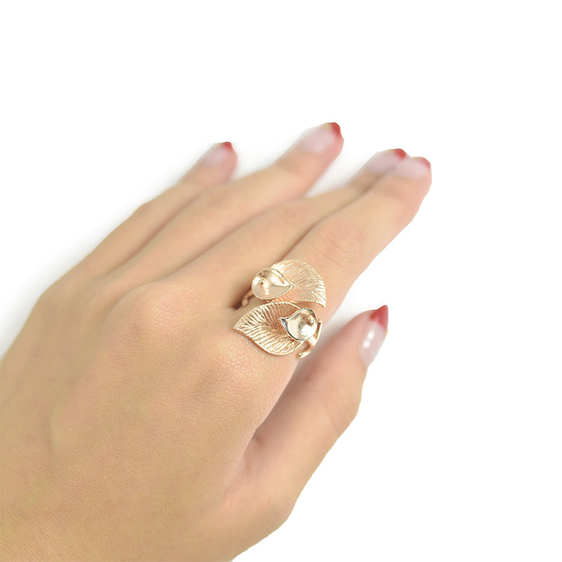 Duo Carob Leaf Wrap Rose Gold Sterling Silver Ring