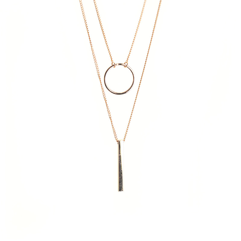 Cutout Circle & Long Bar Rose Gold Short Necklace