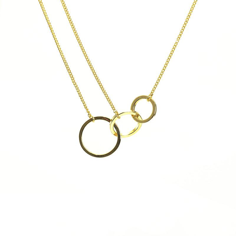 Triple Circle Gold Short Necklace