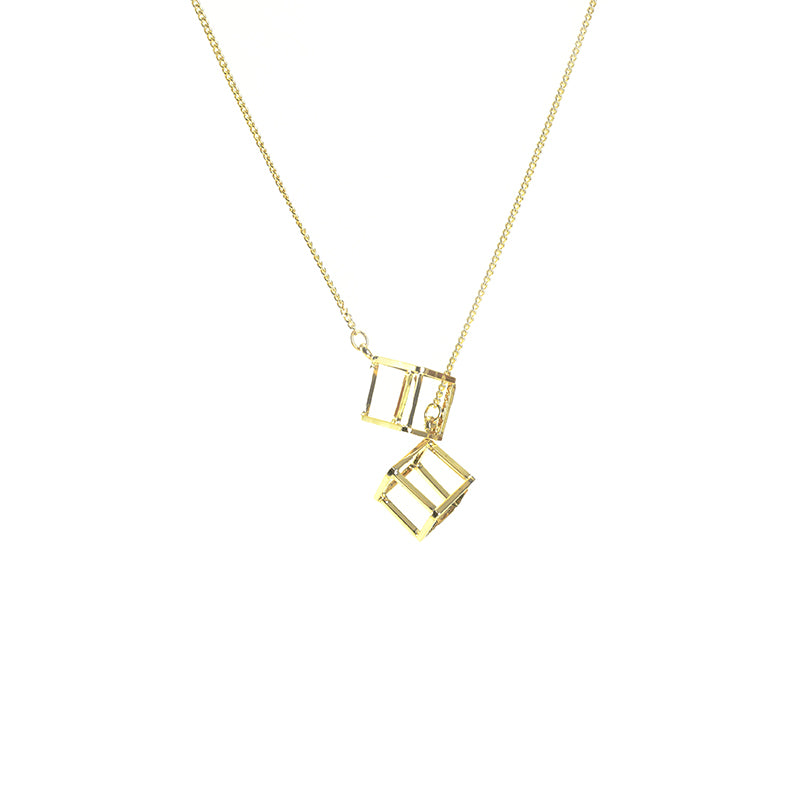 Duo Cutout Cube Adjustable Gold Long Necklace