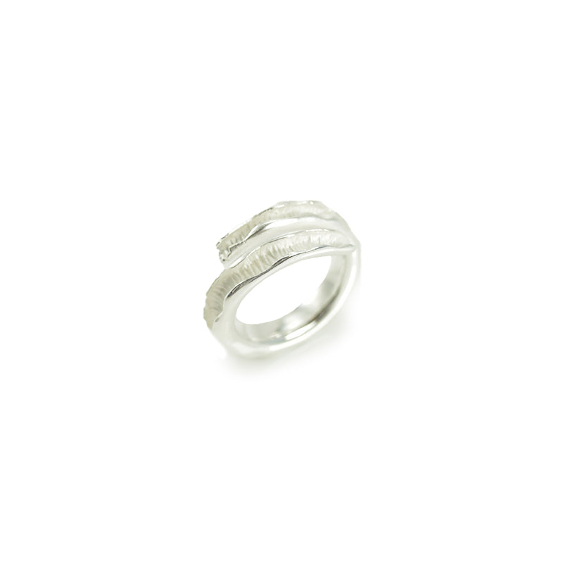 Small Cured Seaweed Sterling Silver Adjustable Ring