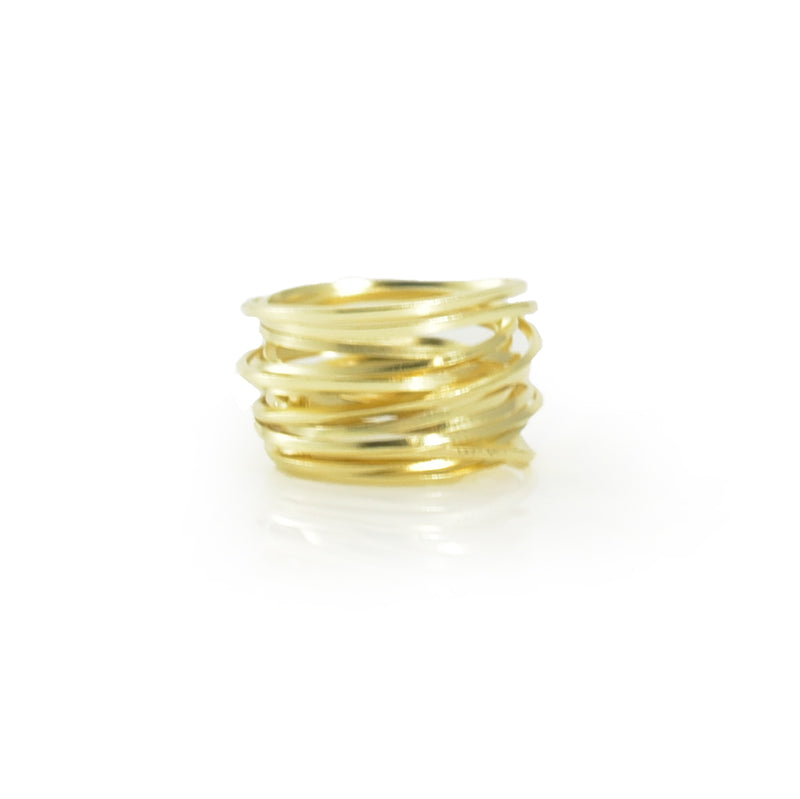 Thick Multi-line Gold Sterling Sliver Ring