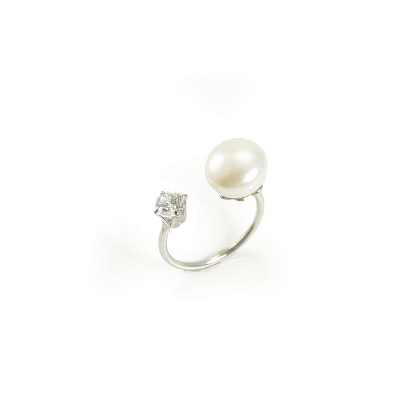 Big Pearl & CZ Open Front Sterling Silver Ring