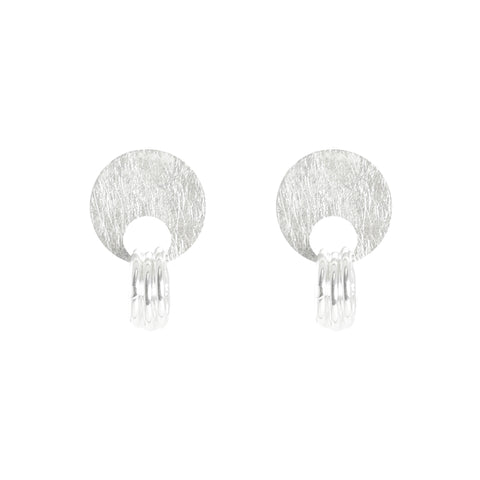 Circle & Trio Cutout Circle Sterling Silver Studs