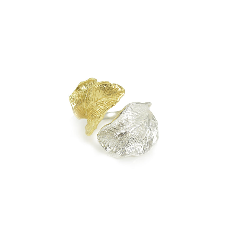 Duo Leaf Gold & Sliver Sterling Sliver Ring
