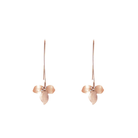 Petiole Rose Gold Sterling Silver Earrings