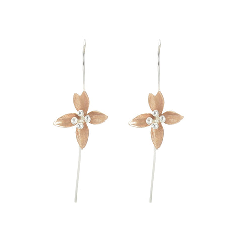 4 Pedal Lily Flower Rose Gold Sliver Pull-Thru Earrings