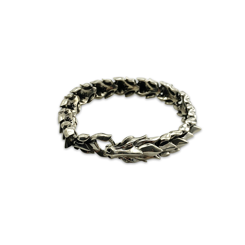 Fire Dragon Shinny Sterling Silver Bracelet (22cm)