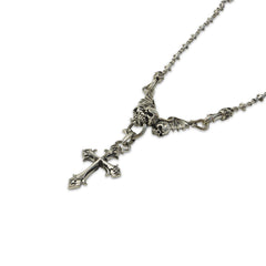 Goffic Skull Cross Sterling Sliver Necklace