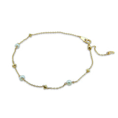 10K Real Gold Triple Fresh Water Pearl & Bead Bracelet
