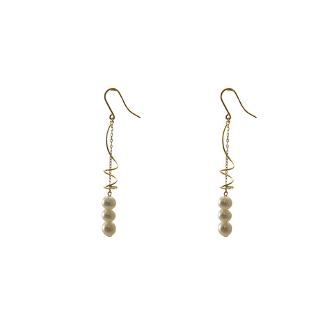 Trio Fresh Water Pearl With Twisted Bar 18K Gold Earrings