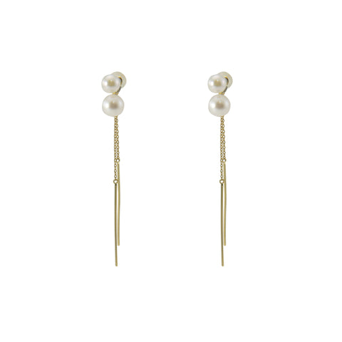 Duo Ayuka Pearl With Duo Bars 18k Gold Studs