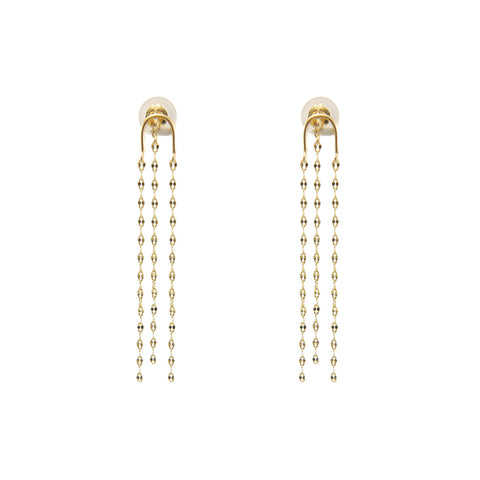 Horse Shoe With Tassel 10k Gold Pierced Earrings