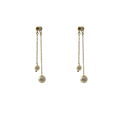 Duo Chain With Fresh Water Pearl 18K Gold Pierced Earrings