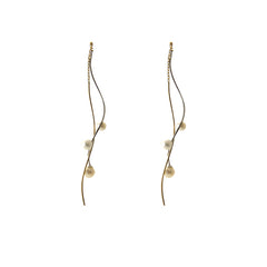 Water Pearl Twisted Bar 10k Gold Silver Pull-Thru Earrings