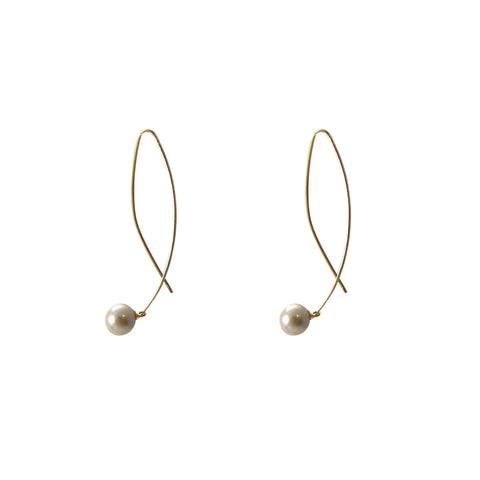 Fresh water 10K real gold real Japan earrings
