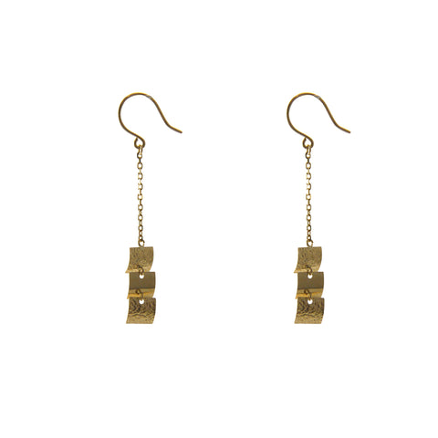 Triple Mini Square 18K Gold earrings