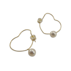 10K Gold + Fresh Water Pearl heart shape Gold Earrings