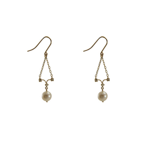 10K Gold Fresh water(Pearl) + 0.06ct Diamond Gold Earrings