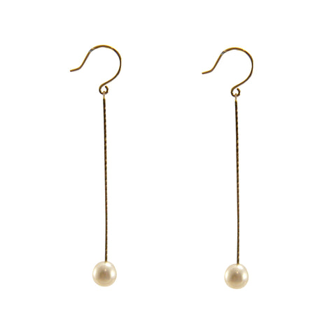 10K Gold + fresh water pearl Gold Earrings