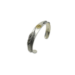 Duo Feather with Gold Bird Sterling Silver Bangle