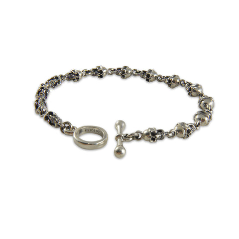 Big Skull Head Sterling Silver Bracelet 20cm